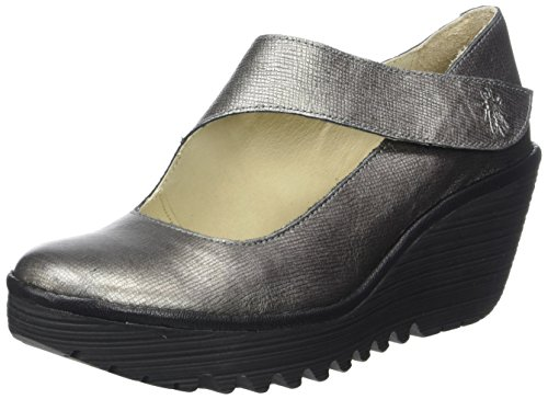 Franz Mousse Womens Pump Antique Wedge FLY Black London Silver Yasi682fly w4xgvq7C
