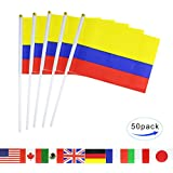 Colombia Stick Flag,TSMD 50 Pack Hand Held Small Colombian National Flags On Stick,International World Country Stick Flags Banners,Party Decorations For World Cup,Sports Clubs,Festival Events