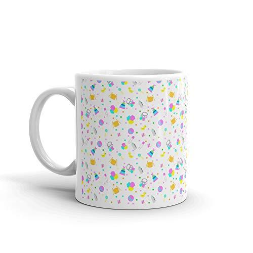 (White Seamless Background Various Baby Stuff Rabbit Coffee Mug Ceramic Cups 11 Oz)