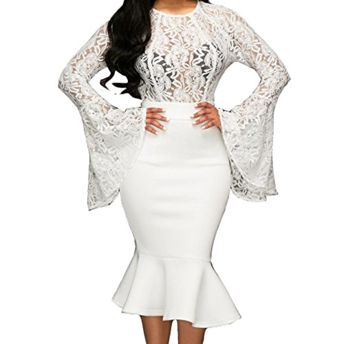Bodycon4U Women's Bandage Dresses Lace Bell Sleeve Crop Top Skirt 2 Pieces Dress Outfits White (Bell Skirt)