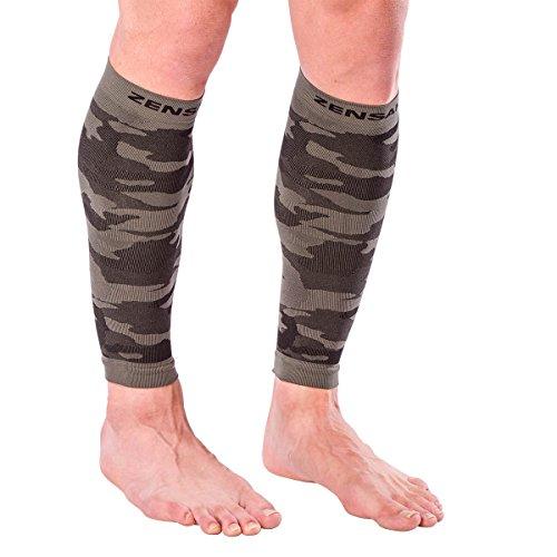 Zensah Camo Compression Leg Sleeves - Running Leg Sleeves - Shin Splints - Leg Sleeves for Basketball, Running, Jogging, Working Out, Tennis, Travel - Reduce Leg Cramping,S,Army Green Camo