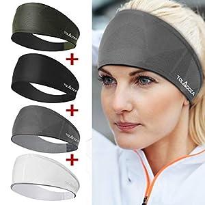 4 Pcs Workout Headbands for Women, Tolaccea Moisture Wicking Sweatbands, Good Elasticity Sports Headbands Fit All…
