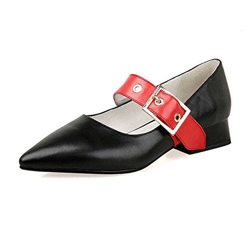 WSXY Boucle Rétro Haut Série Ceinture noir de Romaines Chaussures Gladiateur A3316 Talon Grossier Femmes KJJDE StzXqq