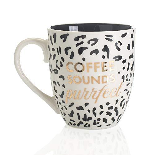 Mary Square 22597 Ceramic Purrfect Mug 20 oz White, Black and Gold ()