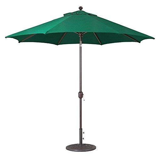 9Ft Galtech (Model 737) Deluxe Auto-Tilt Umbrella w/Antique Bronze Frame & Sunbrella Fabric: Forest Green