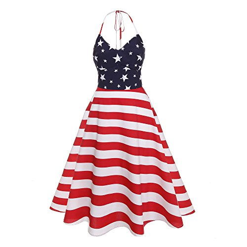 Independence Day Dress Women Sleeveless Halter Neck Sundress USA Flag Print Stars Red and White Stripes Strappy Backless Loose Tank Maxi Dresses Casual Swing Beach Cover Up Plus Size