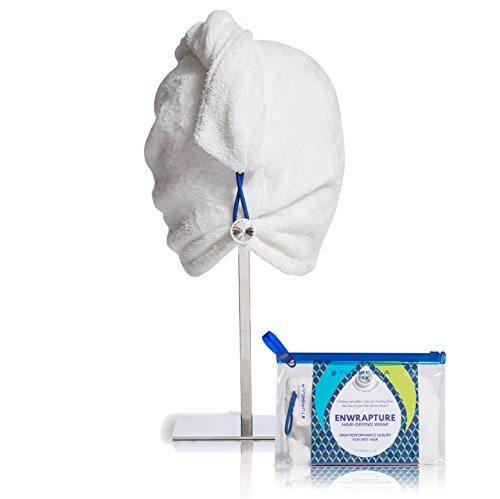 ENWRAPTURE The Only Luxury Hair Towel Wrap Made In USA   Swarovski Button   Nanofiber Beats Microfiber To Dry Wet Hair Fast   Twist Turban In 2 Easy Styles   Large For Long Or Curly   GIFT Travel Case by TURBELLA (Image #9)