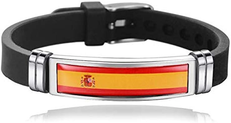Bandera Nacional De España Pulsera De Silicona Concurso Pulsera Conmemorativa De Acero Inoxidable Joyería Patriótica Regalos: Amazon.es: Joyería