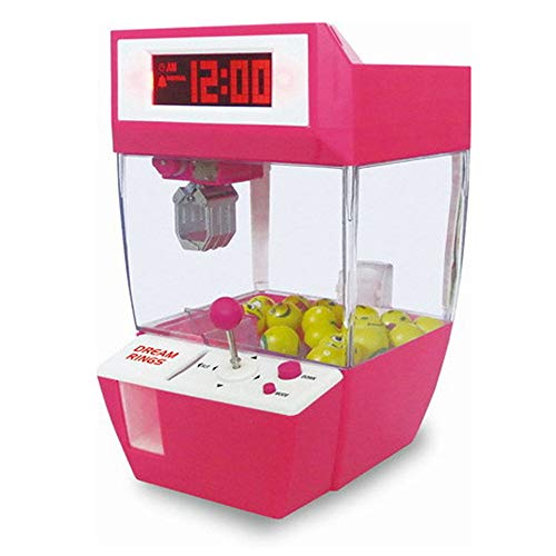 (V.JUST Coin Operated Candy Grabber Balls Catcher Board Game Fun Toys Mini Crane Claw Machine with Alarm Clock)