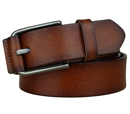 Bullko Men's Casual Genuine Leather Dress Belt For Jeans 1 1/2 Brown 30-32inch