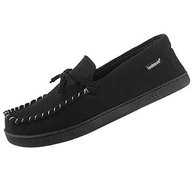 isotoner Men's Memory Foam Blake Moccasin Slipper Faux Wool House Shoe, Indoor Outdoor Comfort Black