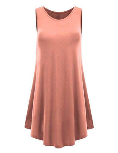 LYCA Women's Sleeveless Round Hem Round-neck Tunic Top - Peach Tunic Top