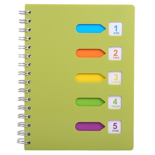 """Notebook Subject (5 Subject Notebook, A5 Notebooks and Journals Spiral Bund, Wide Ruled, Lab Professional Notepad, Colored Dividers With Tabs, 5.7""""×8.27"""", 240 pages, Hardcover Memo Planner for School Kids Girls Women)"""