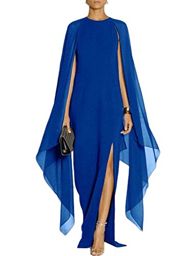 Women's Mother Chiffon Long of Shawl Size the Side Split Royal DreHouse Blue Bride Plus Dresses Sheath with dY5Sxw