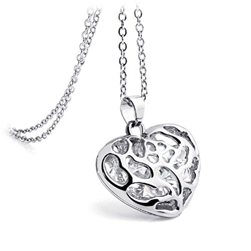 Mirabella BellaMira Silver Hollow Heart Pendant Encased with Austrian Crystals Necklace