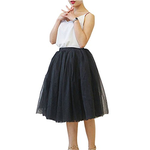 Tortoise & Rabbit Women's 6 Layer Tulle Gauze Ballet Dance Maxi Beach Long Tutu Skirt (Black)