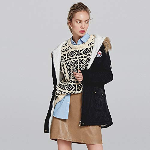 Coat Sweat Femme Winter Manteaux Blouse Collier Long Manteau Femme Shirt Chemisier Tops Manches Sweat Sports Parka Noir POTTOA Slim Elegant Capuche Hooded Longues Veste T Pull Fourrure Shirt de Az1E7wx