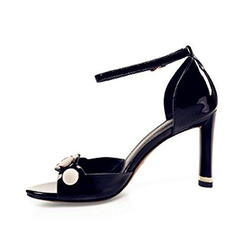 Abiertos Cuero Tamaño Tacón 39 Zapatos Cuadrada Alto del Interiores 3 Tacón Negro PU Alto AnchengKAO 1 EU Color de Blanco Femeninas la la Cabeza de Sandalias de OZY1Zw