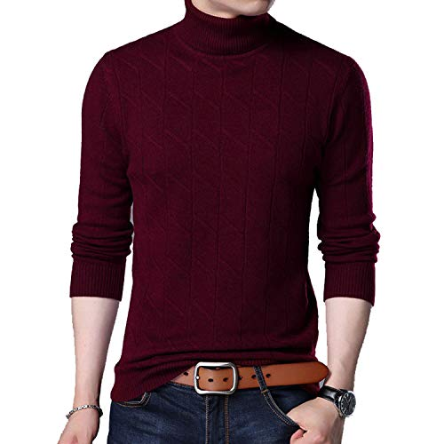 TOGIC Men Thick Warm Turtleneck Sweaters and Pullovers Cashmere Pullover Wine XXL