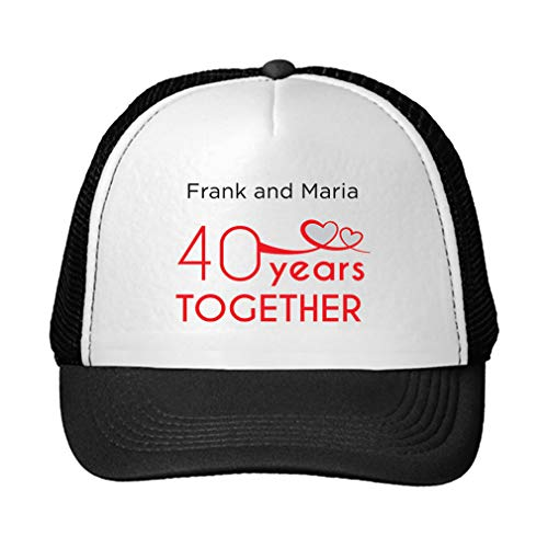 Personalized Custom Text Wedding Anniversary 40 Years Together Couple Unisex Adult Snaps Polyester Trucker Hat Adjustable Cap - Black