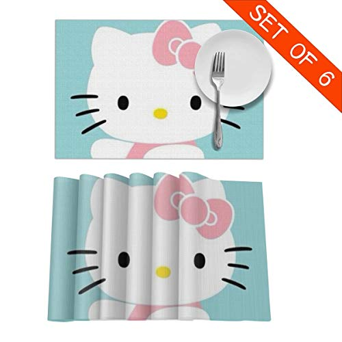 "MPJTJGWZ Placemats for Dining Table Set of 6 Heat Resistant Green Hello Kitty Kitchen Table Decoration Wipe Clean 18"" X 12"""