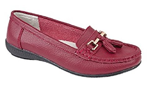 Jo & Joe Womens Flats Leather Deck Boat Loafers Moccasins Driving Shoes with Bar & Tassels Size UK 3-8 Burgundy Mb2mIoDn