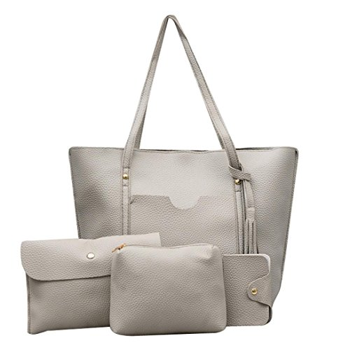 a Pattern 4Pcs Handbag Package Women Card Bag Bag Sale Messenger Gray Crossbody Leather Clearance Sunday77 xS6BwBg
