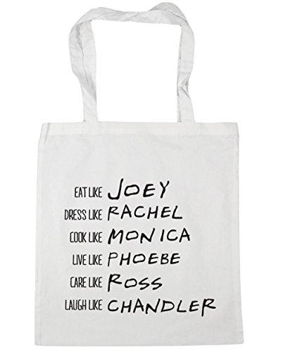 HippoWarehouse ser como Phoebe Rachel Monica Joey Chandler Ross Tote Compras Bolsa de playa 42cm x38cm, 10litros blanco