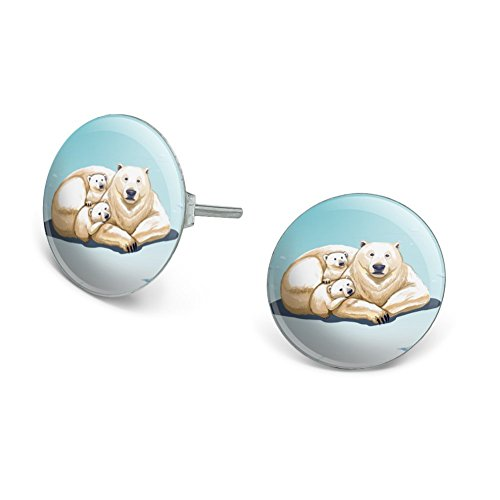 GRAPHICS & MORE Polar Bear Mom with Cubs Family Novelty Silver Plated Stud Earrings