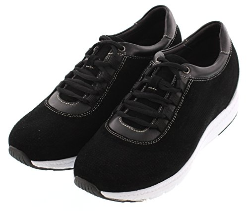 TOTO H41031-2.4 inches Taller - Size 10 D US - Height Increasing Elevator Shoes - Black Fashion Sneakers