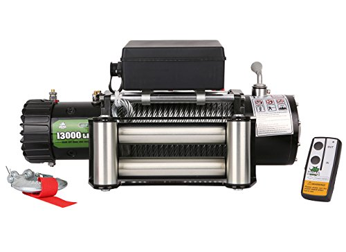 BOAR 12V 13000LBS Wireless Steel Cable Electric Truck Winch Automatic Load-Holding