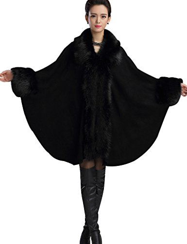 Aphratti Women's Faux Fox Fur Shawl Cloak Coat One Size Full Black
