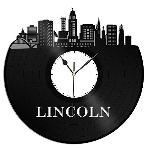 VinylShopUS - Lincoln Nebraska Vinyl Wall Clock City Skyline Unique Gift Office and Bedroom | Room Decoration -