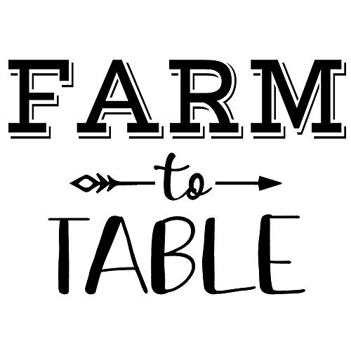 Crafte Life Farm to Table Wall Sticker | Vinyl Decal for Farmhouse Home Decor | Medium (22 in x 15 in) | Wall Quote Decal | Perfect Wall Art for ()