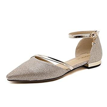 RUGAI-UE Summer sandals in Europe and America,silvery,Thirty-nine