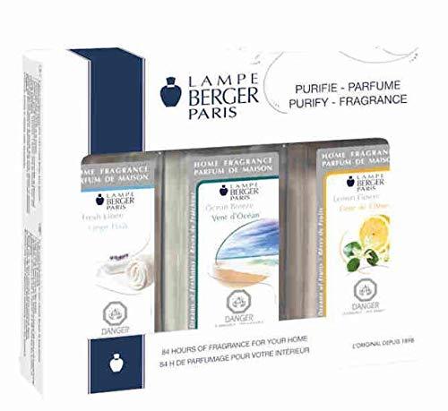 Lampe Berger Fragrance Trio Pack Fresh , Fresh Linen-Lemon Flower-Ocean Breeze, 3 x 180ml / 6.08 fl.oz