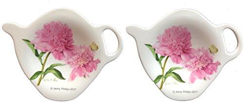 2 Tea Spoon / Bag Rests- Many Styles - Durable Melamine Plastic (2 Tea Spoon/Bag Rests (3 in), A - Pink (Melamine Tea Bag Holder)