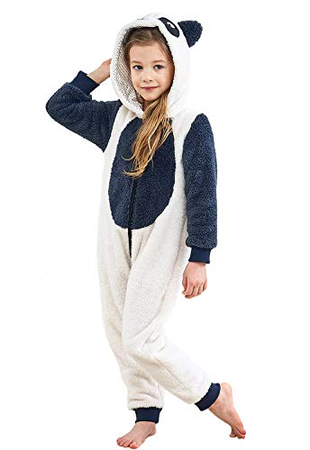 Anna King Kids Animal One-Piece Pajamas Costume Hooded Cosplay Onesies Plush Sleepwear for Girls & Boys Panda Size -