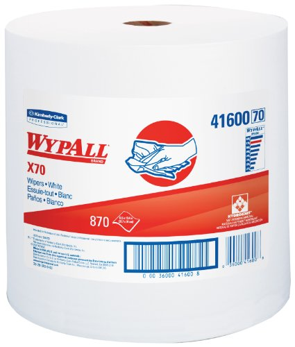 WypAll X70 Extended Use Reusable Cloths (41600), Jumbo Roll, Long Lasting Performance, White, 1 Roll, 870 Sheets