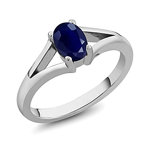 1.02 Ct Oval 7X5MM Sapphire Gemstone Birthstone 925 Sterling Silver Women's Solitaire Ring (Available in size 5, 6, 7, 8, - Oval Created Sapphire Solitaire Ring
