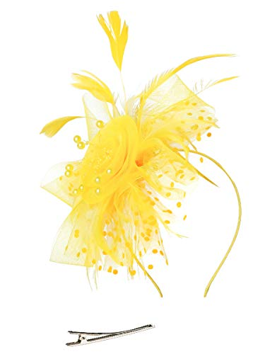 Fascinators Hat for Women Tea Party Headband Kentucky Derby Wedding Cocktail Flower Mesh Feathers Hair Clip -