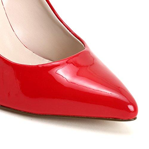 amp;Scarpe con Piel Zapatos by de Scarpe Alargada ALESYA Rojo Punta salón de nw6aqSxf