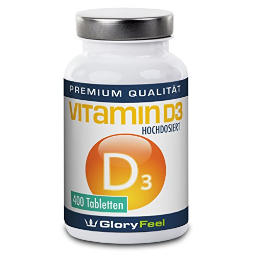 Vitamin D3 Tabletten - 400 Hochdosierte, vegane Vitamin-D Tabletten - 8.100 IE / 200 µg Vitamin D pro Tablette für über 1-Jahr D-3 Bedarf! 100% Natürlich und Rein - Premiumqualität Deutscher Herstellung