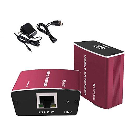 USB 2.0 Extender, Iseebiz USB Extender over RJ45 Cat5 Cat 5e Cat6 LAN UTP Cable Aluminum Alloy Housing USB Repeater up to 330 ft 100m
