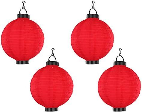 Juego de 4 LED Lámpara solar Farolillo Rojo, Jardín Lámpara Colgar 25,5 cm de diámetro, Globo Lighting: Amazon.es: Iluminación