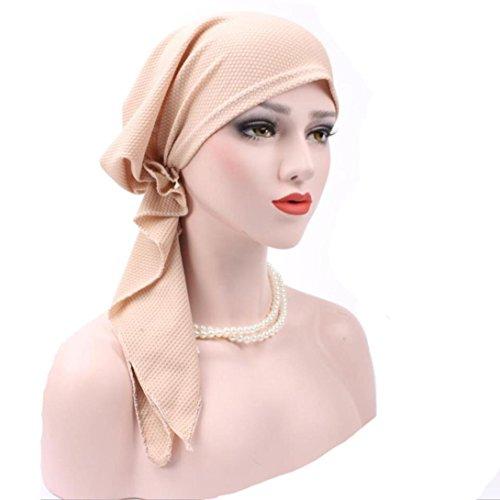 Hunputa Womens Hat, Women's Elegant Strench Drill Muslim Turban Hat Chemo Cancer Cap Headscarf (Beige) (Drill Hat Wool)