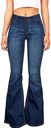 Women's Juniors 70s Trendy Sexy Flare High Waist Fitted Bell Bottom Denim Jeans