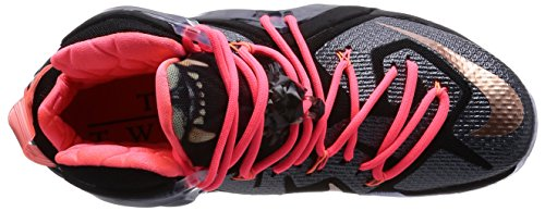 Nike Lebron Xii Mens Elite Scarpe Da Basket Nero / Rosso Metallizzato Lavica Brnz-calor Bianco