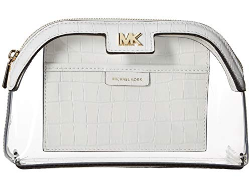 MICHAEL Michael Kors Women's Large PVC and Leather Travel Pouch White One Size (Michael Kors Cosmetic Bag)