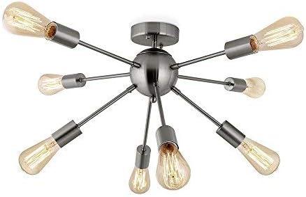 Sputnik Chandeliers,Semi Flush Mount Ceiling Lighting,8 Lights Modern Pendant Ceiling Light for Dining Room Bed Room Brushed Nickel CHITBIT